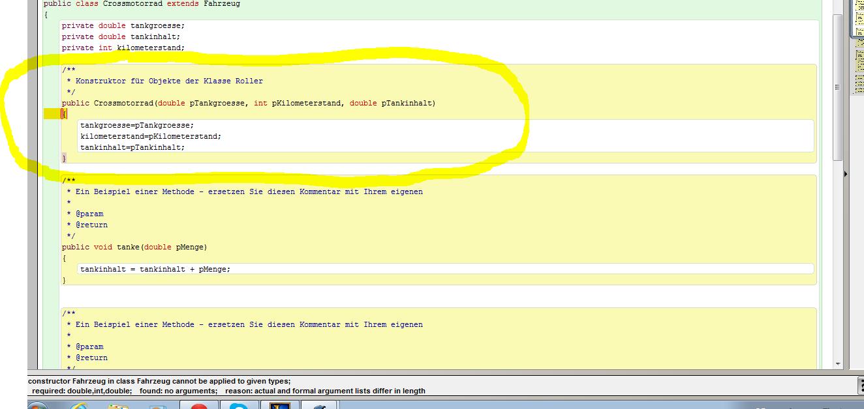 Fehler beim Programmieren BlueJ Java Informatik? (Programm)