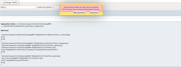 Fehler in der phpmyadmin Datenbank?
