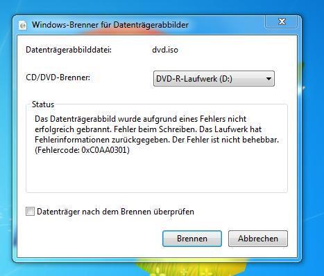 Fehlermeldung - (Windows 7, DVD, Fehlermeldung)
