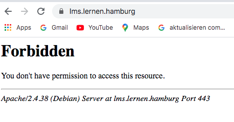 """Fehlermeldung """"403 You don't have permission to access this resource."""" was tun?"""