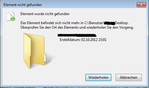 Fehlermeldung - (Computer, löschen, Fehlermeldung)