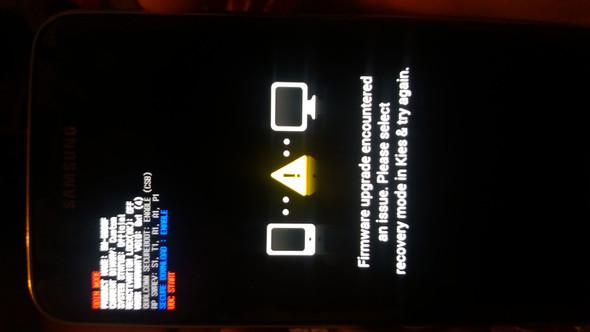 So wird es auf meinem Handy angezeigt nach der FIrmware Installaton - (Samsung, Fehlermeldung, Root)