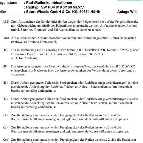Gutachten Felgen D1 8/15mm  - (Auto, TüV, Felgen)
