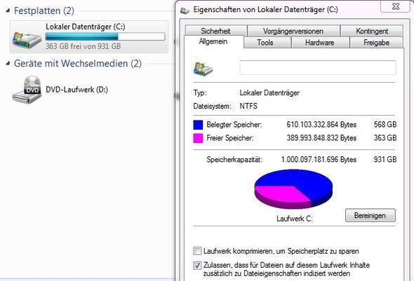 Windows behauptet 568gB seien belegt - (Computer, PC, Windows)