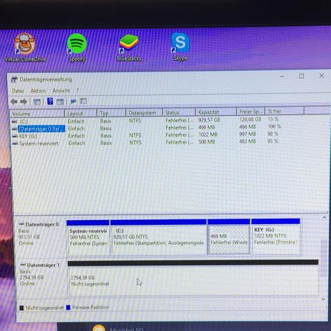 Der Datenträger 1 ist nicht zugeordnet.  - (Computer, PC, Festplatte)
