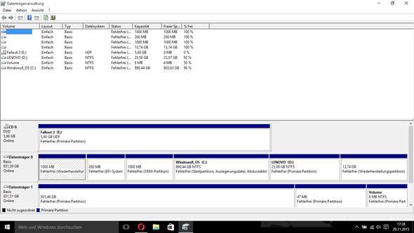 Screenshot Windows Datenträgerverwaltung - (Windows, Festplatte, externe Festplatte)