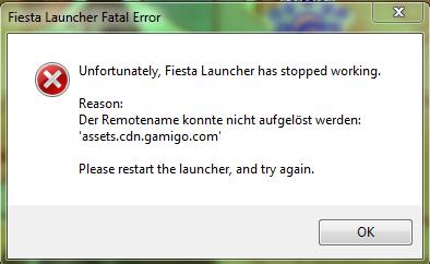 Screenshot der Fehlermeldung - (Fehlermeldung, Error, Launcher)