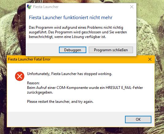 COM-Komponente HRESULT E_FAIL-Fehler - (online, Fehlermeldung, Launcher)