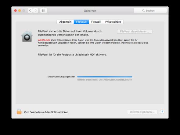 Ohne Strom - (MacBook, Mac OS X, Filevault)