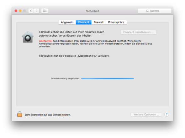 Mit Strom - (MacBook, Mac OS X, Filevault)
