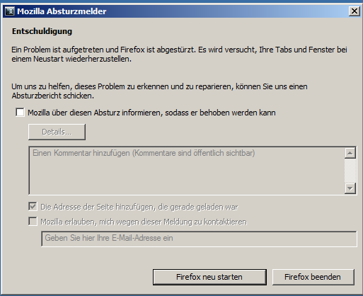 Firefox 46.0.1 stürzt immer ab, wenn ich in Facebook