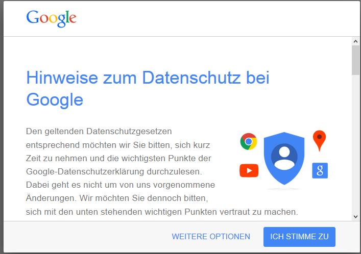 Google Datenschutzerklärung Nicht Zustimmen