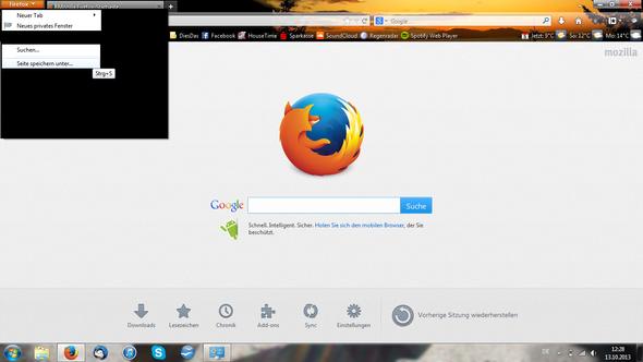 Firefox Schwarzes Bild