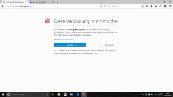 Firefox Diese Verbindung Ist Nicht Sicher Abschalten
