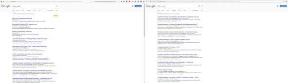 Links Firefox, Rechts Chrome - (Google, Werbung, suche )