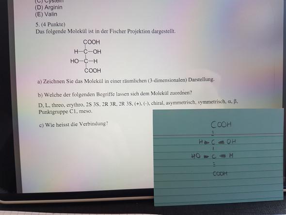 Fischerprojektion In Keilstrichformel Computer Chemie