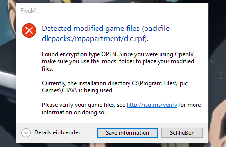 FiveM detected modified game files?