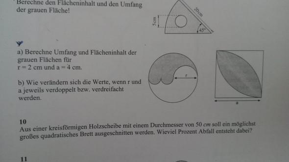 Aufgabe 9a - (Mathe, Kreisfläche)
