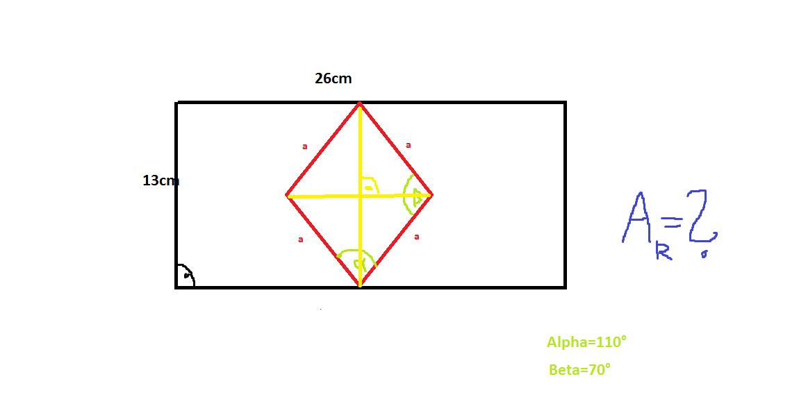 fl che raute errechnen mithilfe trigonometrie in rechtwinkligem dreieck schule mathe. Black Bedroom Furniture Sets. Home Design Ideas