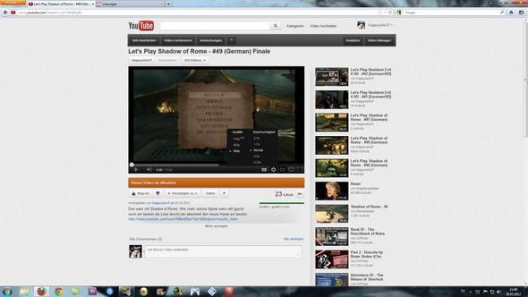 Da der beschriebene Fehler - (Youtube, HD, Flashplayer)