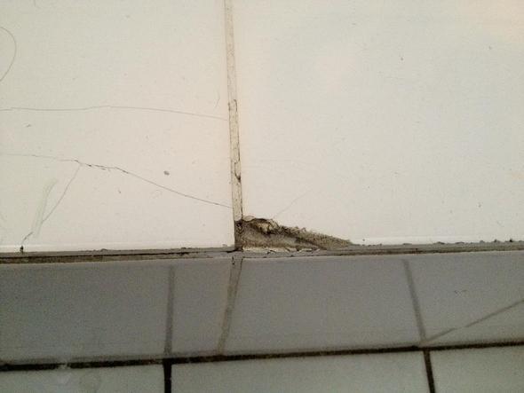 Fliese weiß abgebrochen - (Reparatur, heimwerken, Bad)