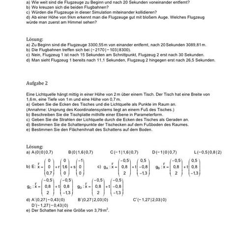 Aufgabe mit Lösung  - (Mathe, vektoren, ebenen)