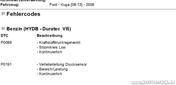 Fehlercodes - (Ford, fehlercode, kuga)