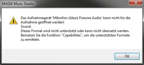 Fehlermeldung - (Musik, Mikrofon, Magix)