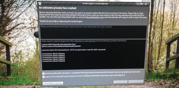 - (Computer, Fortnite, game crash)