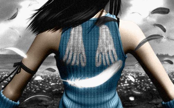 Rinoa- Final Fantasy 8 - Rückansicht Muster - (Anime, Farbe, Videospiele)