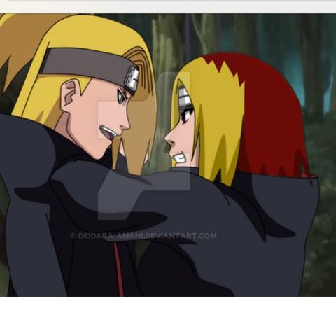 Also das Mädchen (schätze ich mal das es ein Mädchen ist) rechts   - (Anime, Naruto, Deidara)