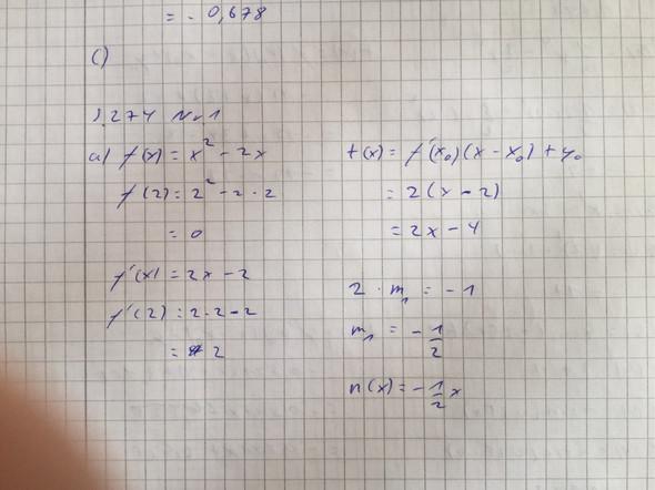 Frage zu Matheaufgabe Tangente und Normale? (Mathematik, normal)
