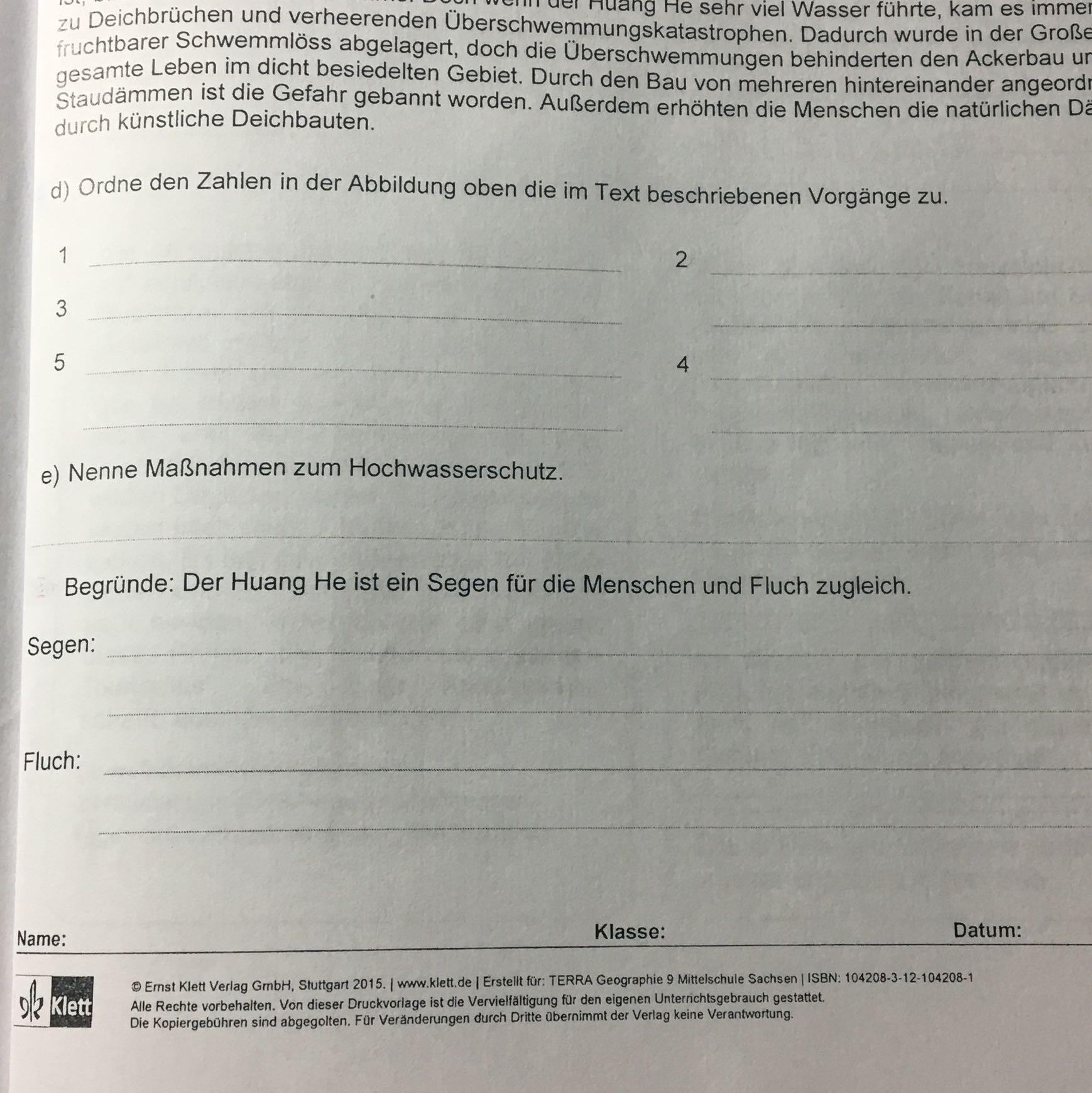Frage zum Geografie Arbeitsblatt? (Schule)