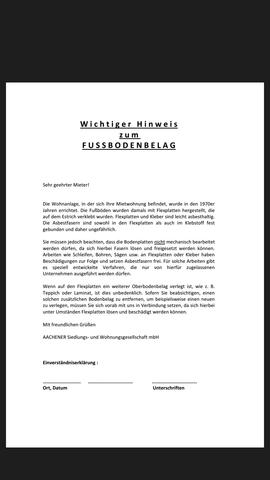 Zusatzschreiben zum Mietvertrag  - (Mietrecht, Laminat, Fussboden)