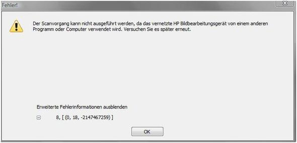 Dieser Fehler kommt wenn ich es per HP Solution Center mache - (Drucker, hp, Scanner)