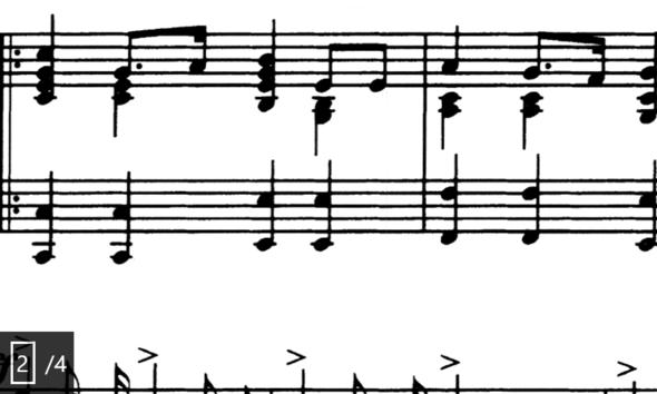 Beim ersten Takt, die letzten Achtelnoten  - (Musik, Immer)