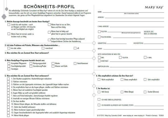 Schönheits-Profil - (Mail, PDF, Format)