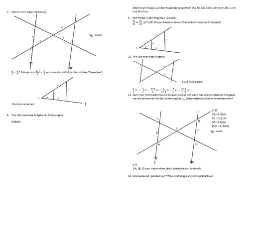 Fragen zu Strahlensätze - (Mathematik, Geometrie)