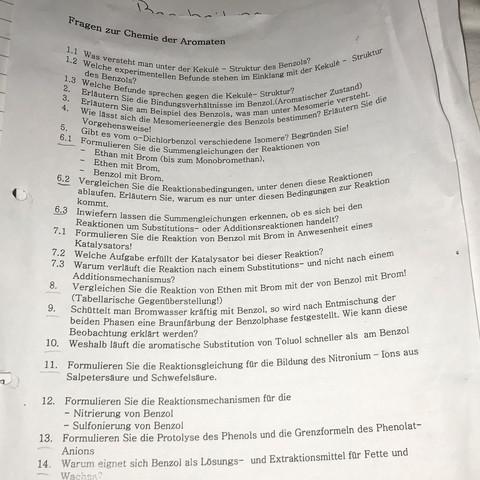 Fragen zur Chemie der Aromaten? (Schule, Unterricht, Bindung)