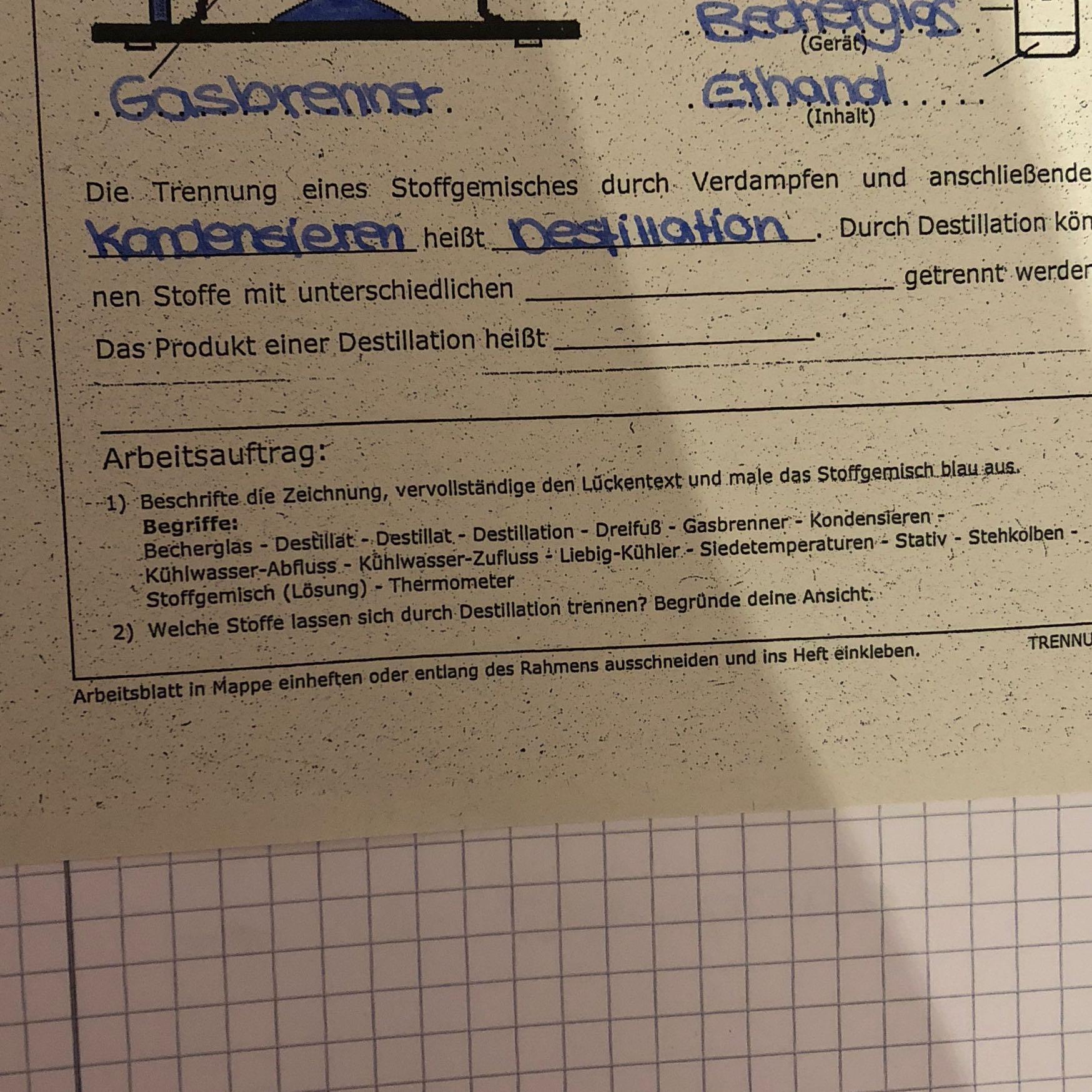 Fragen zur Destillation? (Chemie, Lückentext)