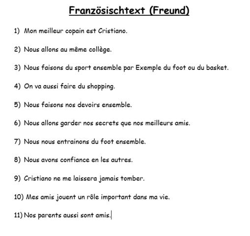 Text über einen besten Freund - (Freunde, franzoesisch, Text)