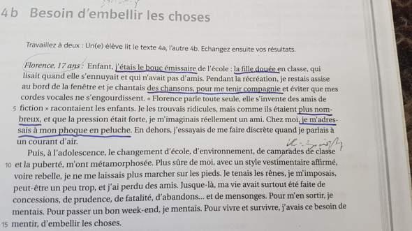 Franzosischer Texte Schule Sprache Ubersetzung
