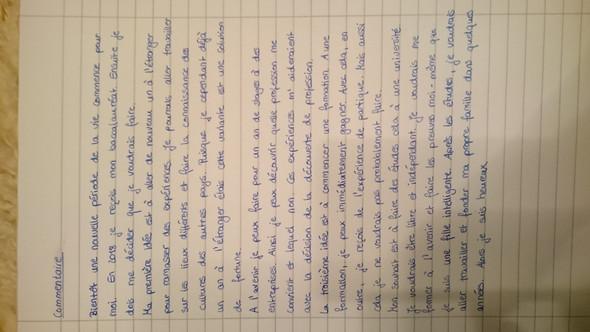Französisches Commentaire Hilfe Schule Sprache Französisch
