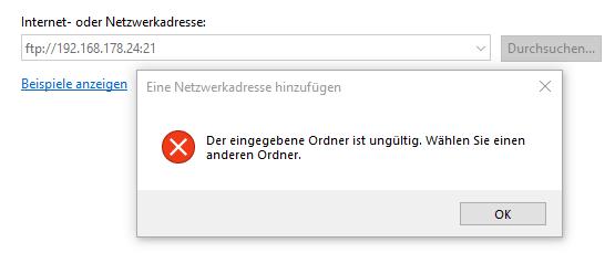 FTP über Firefox & IE funktioniert aber über Windows nicht?
