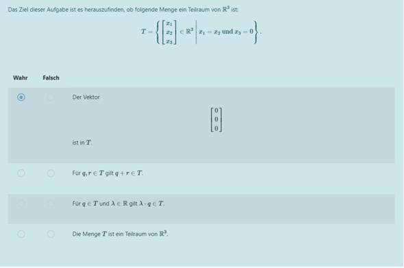 Für was steht q und r (Menge eines Teilraums von R^3)?