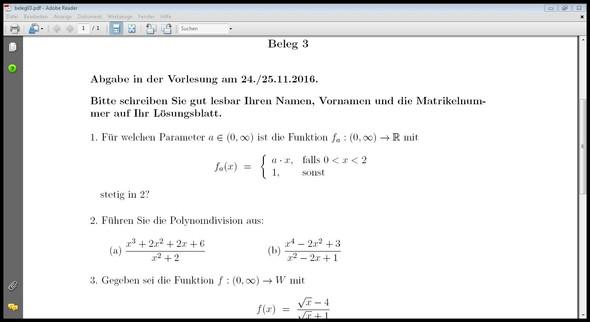 Aufgabe - (Mathematik, Funktion, Stetigkeit)