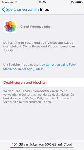 Speicher-Verbrauch der Fotomediathek auf iCloud Drive - (Technik, iPhone, Apple)