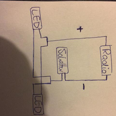 fu raumbeleuchtung an radio anschlie en auto 12 volt. Black Bedroom Furniture Sets. Home Design Ideas