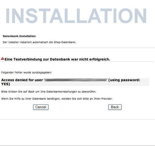 Fehlermeldung - (Installation, Webspace, Gambio)