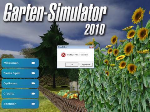 Garten Simulator 2010 Fehlermeldung